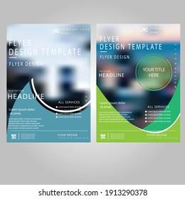 Creative light blue and dark green colour flyer vector design