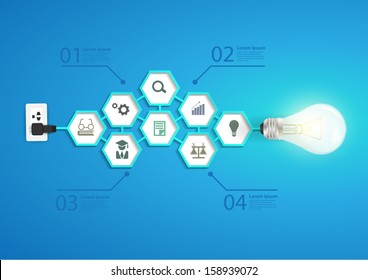 Creative light bulb abstract infographic hexagon modern design template workflow layout, diagram, step up options with chemistry and science icon, Vector illustration modern design template