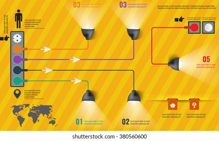 Creative light bulb abstract infographic modern design template workflow layout, diagram, step up options. Illustrated vector infographics elements.