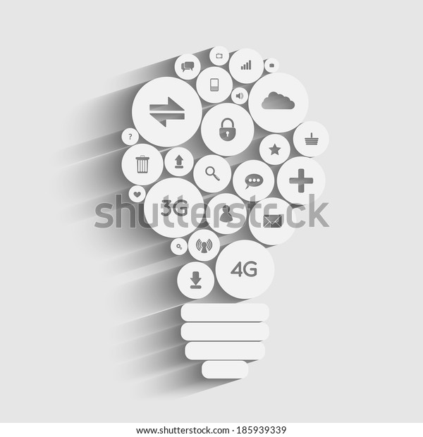 Creative light bulb with applications icons inside