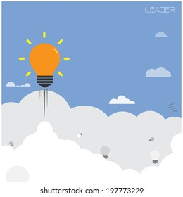 creative light bulb with blue sky background ,design for poster flyer cover brochure,leader and education concept ,business idea.vector illustration
