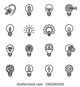 Creative light bulb. Collection of design elements. Light bulb concept line icons style. Vector illustration.