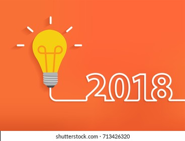 Creative light bulb idea with 2018 new year design, Inspiration business plan, marketing strategy, teamwork, brainstorm ideas concept, Vector illustration modern design layout template