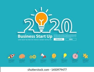 Creative light bulb idea with 2020 new year design, Inspiration business start up plan, marketing strategy, teamwork, brainstorm ideas concept, Vector illustration modern design layout template