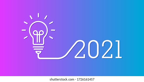 Creative light bulb idea with 2021 new year design, 2021 creativity inspiration concepts with a light-bulb on the gradient background color. the solution, planning ideas.Business, glowing