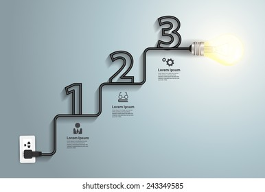Creative light bulb idea abstract infographic, Inspiration concept modern design template workflow layout, diagram, numbers step up options banner, Vector illustration