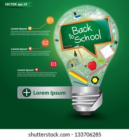 Creative light bulb idea with back to school concept, Vector illustration template design