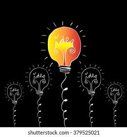 Creative light bulb Idea concept. Doodle style illustration.