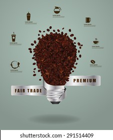Creative light bulb ideas with abstract coffee beans pattern design, Vector illustration modern layout template