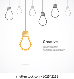 Creative light bulb symbol with gear sign and difference concept. Vector illustration