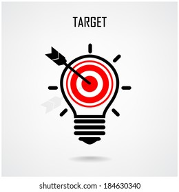Creative light bulb and target concept background design for poster flyer cover brochure ,business idea ,abstract background.vector illustration contains gradient mesh