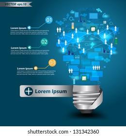 Creative light bulb with technology business Network process diagram concept idea, Vector illustration Modern template Design