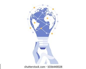 Creative light bulb with world map. Global idea concept vector illustration