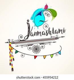 Creative Line Art based Grungy design for the Hindu Festival Janmashtami with Lord Krishna face, flute and stylish text on decorative background.