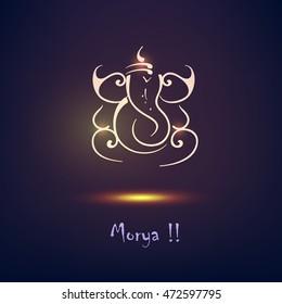 Creative Line Art based Lord Ganesha Design on shiny background for Hindu Festival Ganesh Chturthi or Shubh Deepawali .