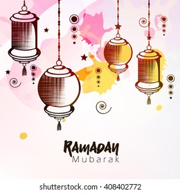 Creative line art design with hanging lanterns and stars on colorful texture background for holy month of Muslim's Community Festival Ramadan Kareem.