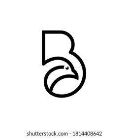 creative line art design - letter B logo template with bird head