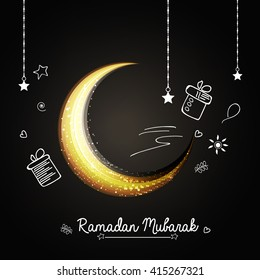 Creative line art doodle design with shiny and glittering moon on chalk background for Muslim's Community Festival Ramadan Kareem.