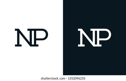 Creative line art letter NP logo. This logo icon incorporate with two letter in the modern way.
