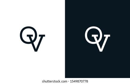 Creative line art letter OV logo.