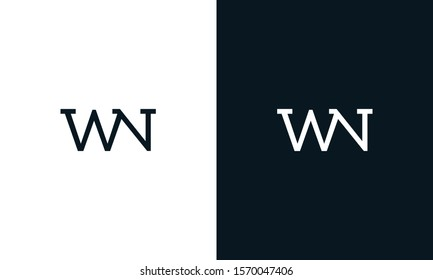 Creative line art letter WN logo. This logo icon incorporate with two letter in the creative way.