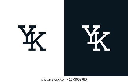 Creative line art letter YK logo. This logo icon incorporate with two letter in the creative way.