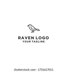 Creative line art raven logo design template