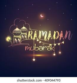 Creative line art shiny text of Ramadan Kareem on dark background for holy month of Muslim's Community Festival Ramadan Kareem.
