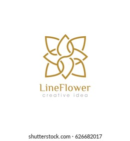 Creative Line Flower Concept Logo Design Template