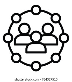 Creative line icon showing concept of participation in a group
