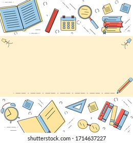 Creative linear education concept design. Modern vector illustration with space for text. Concept for banner, web illustration, online advertise.