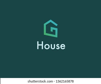 Creative linear logo icon letter and house
