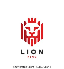 Creative Lion head with crown. Symbol. Vector illustration
