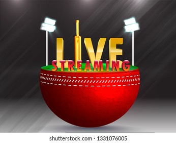 Creative live streaming emblem with 3d text and night stadium illustration for Cricket tournament concept.