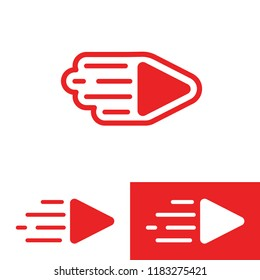Creative live streaming icon. Stock vector illustration of a red play sign for broadcast logo or banner.