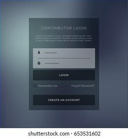 creative login form ui template in dark theme