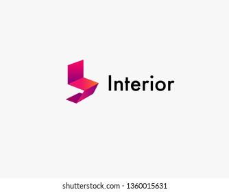 Creative Logo chair geometric shape gradient for studio interior