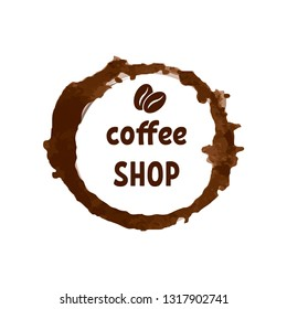 Creative logo for coffee shop with printed lettering and brown coca beans