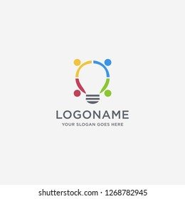 Creative logo of connection people and lighting bulb, sharing, link vector