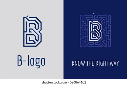Creative logo for corporate identity of company: letter B. The logo symbolizes labyrinth, choice of right path, solutions. Suitable for consulting, financial, construction, road companies, quests