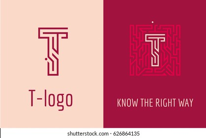 Creative logo for corporate identity of company: letter T. The logo symbolizes labyrinth, choice of right path, solutions. Suitable for consulting, financial, construction, road companies, quests