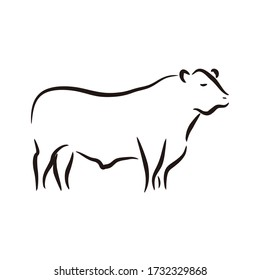 Creative logo design for angus cattle farm vintage emblem template design illustration