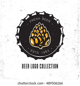 Creative logo design with beer bottle cap. Vector illustration. Designed to label, emblem or badge for brewery, beerhouses and pubs.