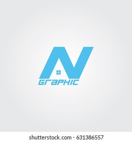 Creative logo design for company and unique symbol with letter n and home.