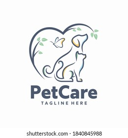 creative logo design concept Dog and Cat vector template