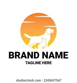 creative logo design concept dogs and cats vector template