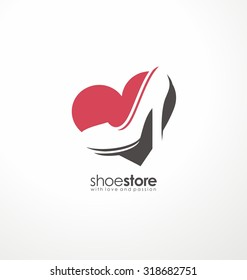 Creative logo design concept for fashion store. Unique symbol template with heart shape and high heels shoe in negative space.
