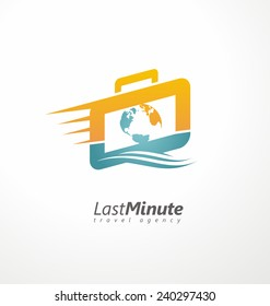 Creative logo design concept for travel agency. Suitcase with motion trail and world map symbol template. Unique icon idea for last minute vacation.
