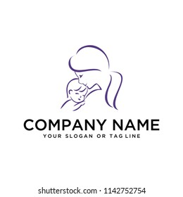 creative logo design concept vector template mother and child