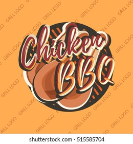 Creative logo design with grilled chicken legs. Vector illustration done in retro style. Label used for fastfood menu, snack bar or bbq house.
